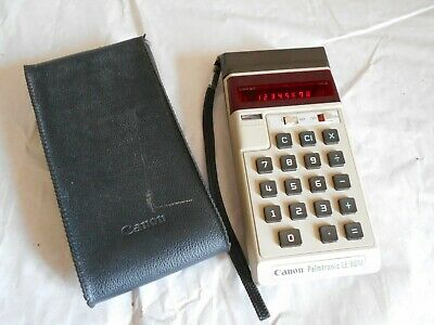 vintage calculator Canon palmtronic LE-80M red LED type working with case