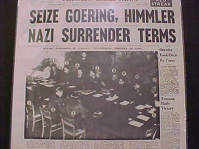 Vintage Newspaper Headline~World War Germany Hitler Nazi Army Surrender End Wwii
