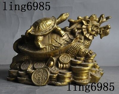 """6"""" Old Chinese fengshui brass yuanbao coins wealth Dragon turtle tortoise statue"""