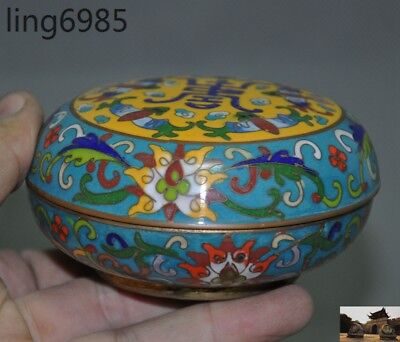 Old Chinese bronze Cloisonne Fengshui Wealth bats statue rouge Storage box Boxes
