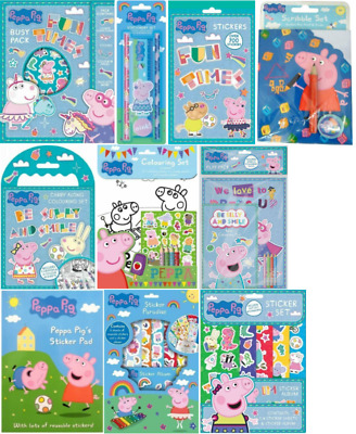 Peppa Pig - Reusable Stickers Colour In Sheets Crayons Pencils Bookmarks & More