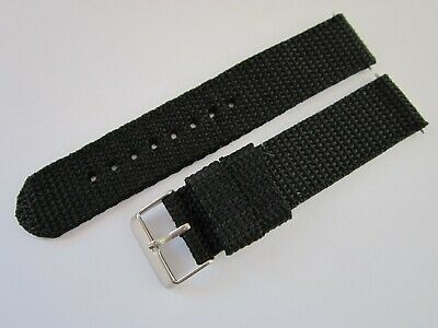 Gents 20mm Black Nylon Military Style Watch Strap-Stainless Steel Buckle & Pins