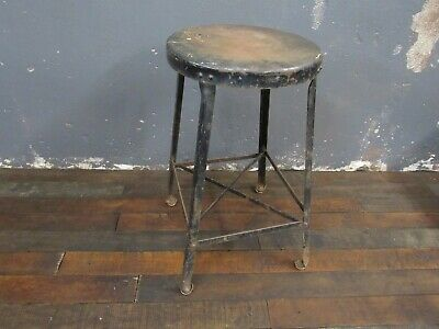 Vintage Industrial Metal Stool Shop Garage Mid Century