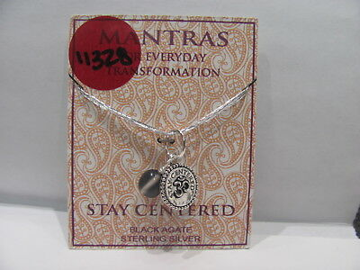 11328 Old Pawn Sterling Silver Chain With Black Agate Stone Charm