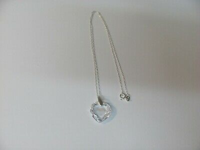 13816 OLD PAWN Sterling Silver Clear Heart Crystal MOM Charm Necklace