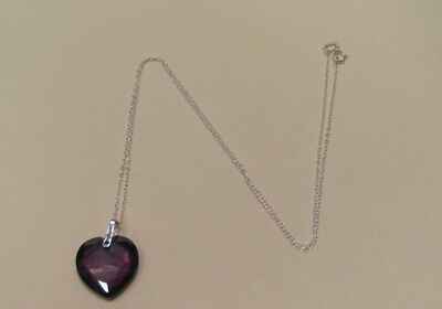 10194 OLD PAWN Sterling Silver Purple Crystal Heart Charm necklace