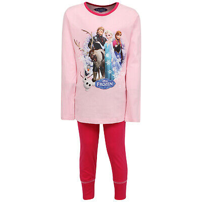 Disney Girl's Frozen Cotton Long Pyjamas Sleepwear Nightwear 3-10 Years