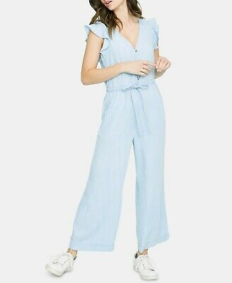 $159 Sanctuary Womens M Mica Chambray Wide-Leg Flutter-Sleeve Jumpsuit Catalina