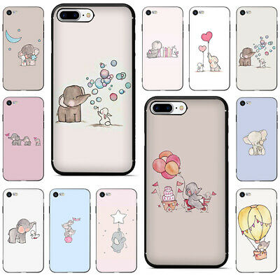 Cartoon cute elephant and rabbit Soft TPU Case for iphone XS Max XR 8 7 6
