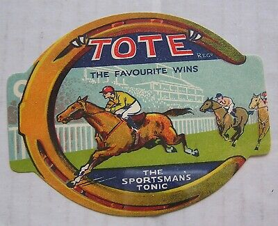 "New Old Stock Label, Unused, "" Tote "" The Sportsman's Tonic, Horse Racing Scene"