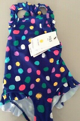 Bnwt M&S Girls  Swimming Suit , Age 12-18 Months , Spots