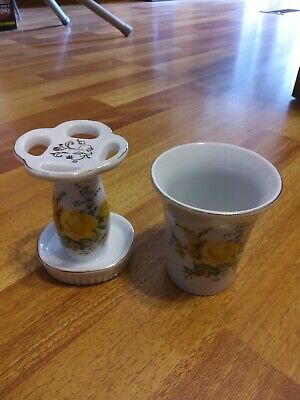 Royal Crown Tooth Brush Holder and cup. Bathroom set
