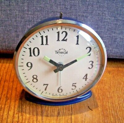 Vintage Smiths Timecal Bedside Alarm Clock (Navy Glow Hands Ringing Travel Time)