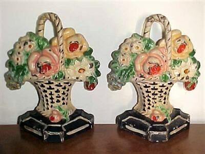 Set of 2 Antique Hubley #8 Cast Iron Flower Baskets w/Roses ~ Doorstops Bookends