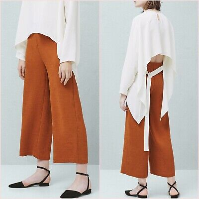 SALE Orange Palazzo Culottes Cropped Trousers UK 6 8 10 US 2 4 6 Blogger❤
