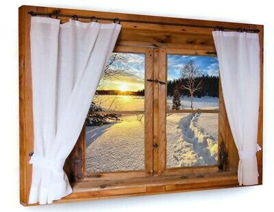 WINDOW FRAME 3D EFFECT CANVAS PICTURE PRINT WALL ART LARGE #2151 Wall Hangings