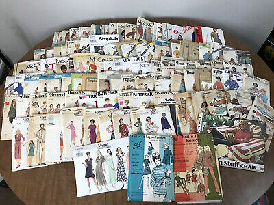 Vintage 60s 70s 80s Sewing Patterns Lot of 97 Vogue McCalls Butterick Sz 8-16