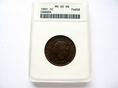 1901 Canada Large One Cent - ANACS MS 62 RB