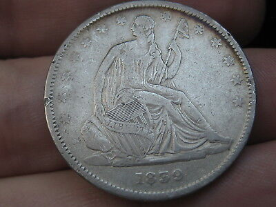 1839 P Seated Liberty Half Dollar, With Drapery, VF Details
