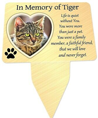 Pets Photo Personalised Memorial Plaque & Stake. Heart, dog, cat, garden grave