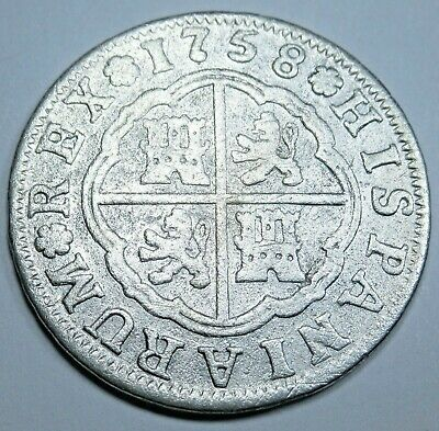1758 Spanish Silver 2 Reales Piece of 8 Real Colonial Era Pirate Treasure Coin