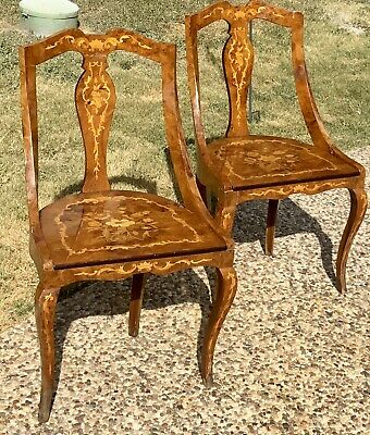 ANTIQUE VINTAGE ITALIAN INLAID WOOD MARQUETRY CHAIRS SIDE CHAIR Furniture Inlay