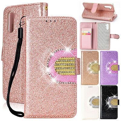 For Samsung Galaxy S10 Plus S8 Note 10 S9 S7 Case Glitter Leather Wallet Cover