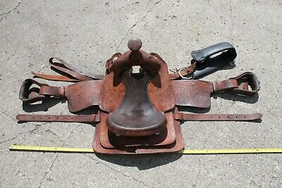 "VTG Ozark Leather Co Waco Texas Hand Crafted 15"" Roping SADDLE Tooled 6KOT Line"