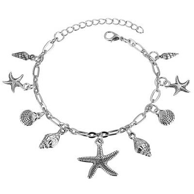 Starfish Tortue Cheville Multicouche Charme Perles Mer Main Boho Anklet Pied 1U1