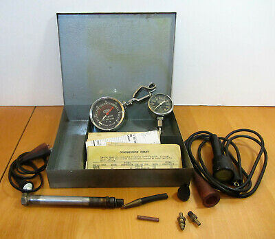 Vintage 1950's Allstate Engine Vacuum Compression Tester Timing Light Metal Case