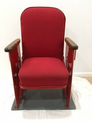 antique theater seat restored from Garden Oaks Theater Houston, Tx
