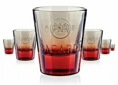 Bacardi Fuego Glasses Red Spiced Rum Shot Glasses Heavy duty Bar//Home Set of 2