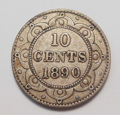 1890 Newfoundland Ten Cents F-VF Very NICE Queen Victoria Old Nfld. Silver Dime