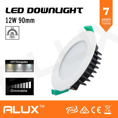 12W Ip44 Cct Led Downlight Kit Dimmable Warm/Natural/Cool White 90Mm Cutout Saa
