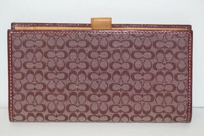 Coach Red Signature C Canvas and Leather Checkbook Holder Wallet