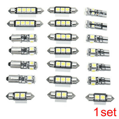 21x Car Interior LED Light Kit Dome Door Footwell License Plate Bulbs White 12V