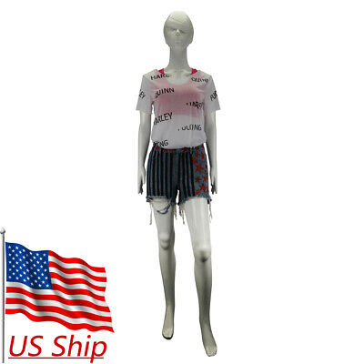 Birds of Prey Harley Quinn Cosplay Costumes Full Set Vest Short Pants T-Shirts