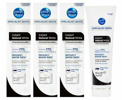 3 x Pearl Drops Instant Natural White Charcoal Toothpaste 100g