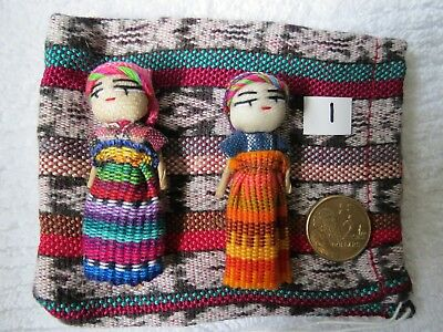 2 Large GUATEMALAN WORRY DOLLS  5.5 - 6cm high.THESE EXACT ONES No.1  Free Bag