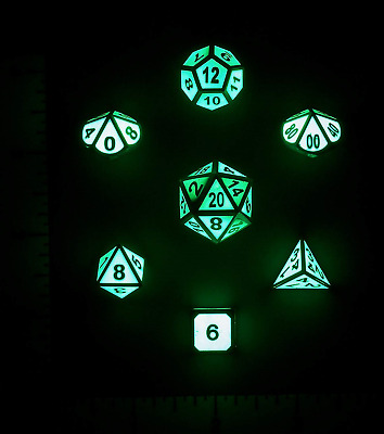 Nicks Dice Metal Glow In The Dark 7 Polyhedral Dice Set for Tabletop DnD D&D and