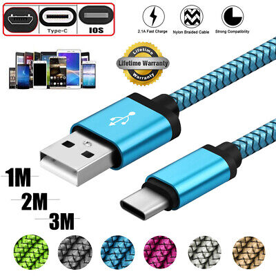 1/2/3M Strong Braided Micro USB Type-C IOS Fast Charger Charging Data Sync Cable