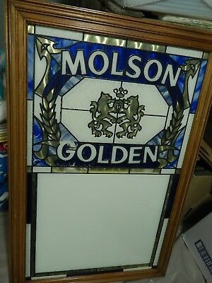 MOLSON GOLDEN ~ Stained Glass Message Board (1988) BAR_PUB_TAVERN Vtg BEER SIGN