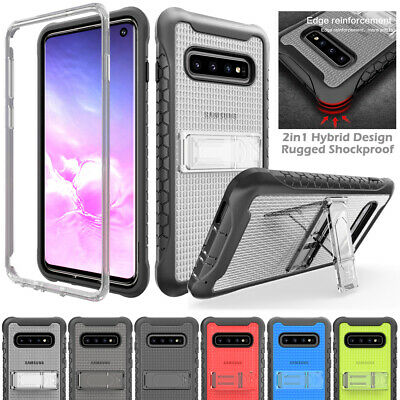 Samsung S9 S10 Plus Note 9 Hybrid Translucent Back Case Cover + Clear Kickstand