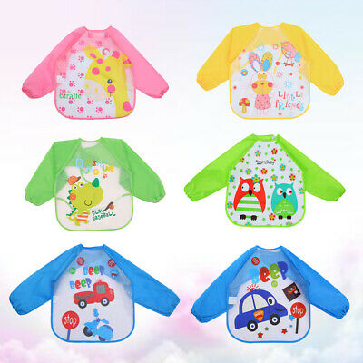 6pcs Kids Waterproof Smock Plastic Waterproof Lovely Smock for Girls Boys Baby