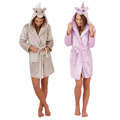 Loungeable Boutique Womens Sparkle 3D Unicorn Tie Up Dressing Gowns Lounge Wear
