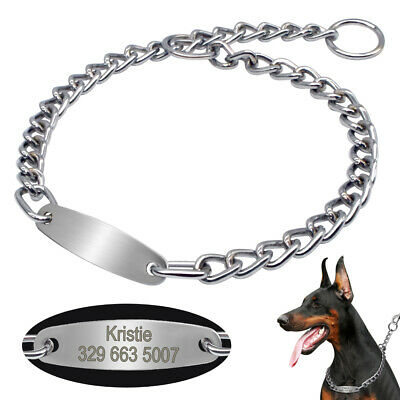 Personalised Pet Dog Chain Collar ID Engraved Choke Tags for Small to Large Dogs