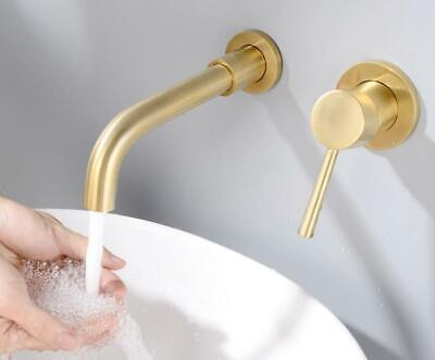 Wall Mount Hot Cold Swivel Spout Mixer Brass Bathroom Basin Sink Faucet Gold Tap