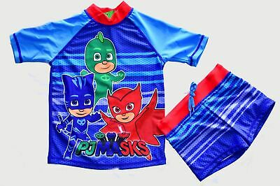 Pj Masks  2 Piece Swimsuit, Swimmers, Size 3, New With Tags,  Blue,  Rash Top