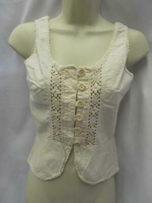 "Vintage 1970s Cream camisole under garment 32"" bust cotton and lace"