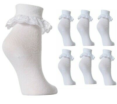 Pack 1x 3x 6x 12x Girls Cotton Socks School Frilly Lace Ankle Socks Kids Baby